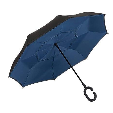 EZPELETA Paraguas inverso Reversible. Antiviento y Manual con puño Forma C. Tejido Doble Capa