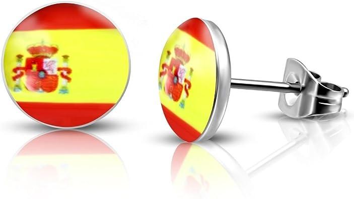 bungsa® España Bandera Pendientes 10 mm – 1 par de acero inoxidable (Pendientes de Oído Pinzas Mujer Mujeres Hombre Spain Fútbol EM WM Mode Studs Earrings): Amazon.es: Joyería