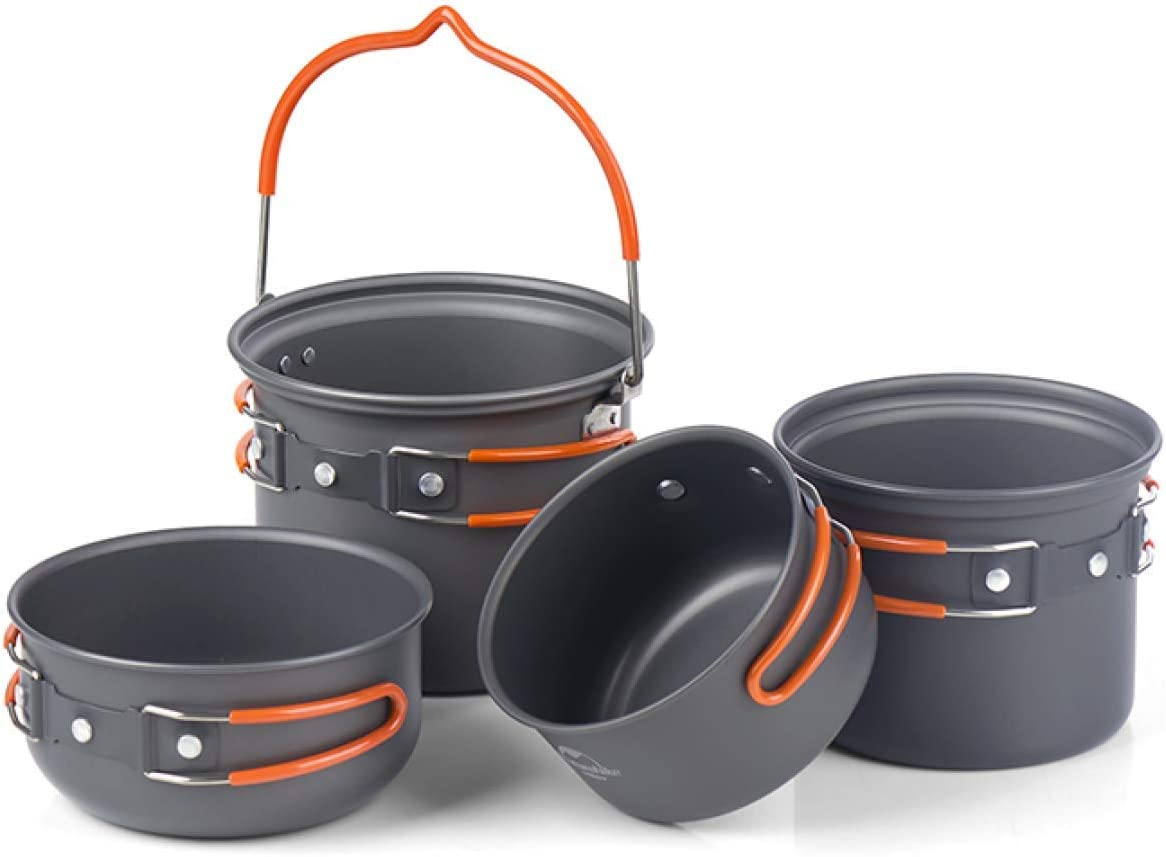 YAUO Camping Al Aire Libre Senderismo Y Picnicfour-In-One Combo Set Tableware Picnic Barbecue Outdoor Camping Pot Cooker Portable 2-3 People