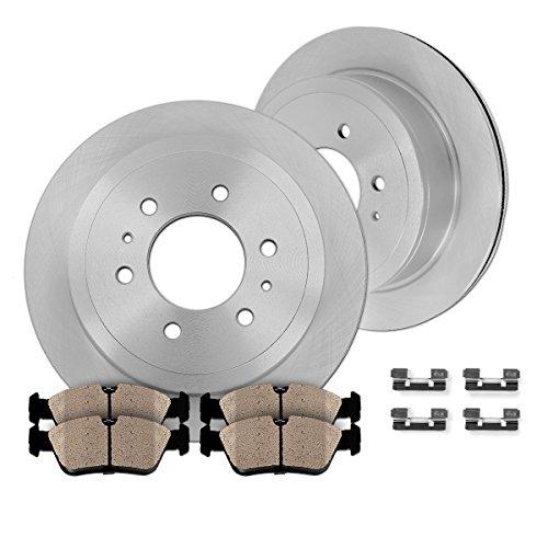 REAR 312 mm Premium OE 6 Lug [2] Brake Disc Rotors + [4] Ceramic Brake Pads + Clips