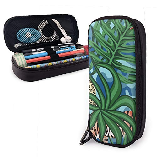 Tiger Leopard Tropical Leaves Lily Seamless Camo Pencil Case Pencil Bag Makeup Bag Organizer Pen Pouch Holder Box Pen Holder
