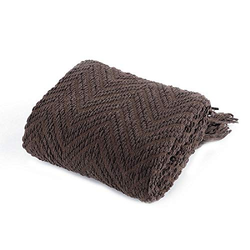 (Battilo Boon Knitted Tweed Throw Couch Cover Blanket (Dark Brown, 50