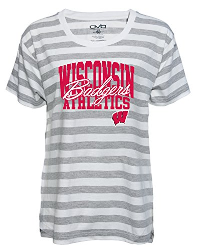 NCAA Wisconsin Badgers Women's Striped Game Day T-shirt, XX-Large, Grey/White -