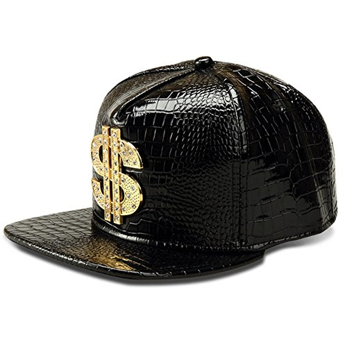 LEEYA NYU14 The New Crocodile Baseball caps alloy Dollar Flat-brimmed hat Hip-hop hat (Black)]()