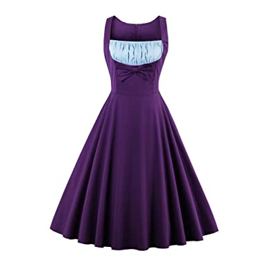 KeKeD23921 New Summer Dress Plus Size Dress for Women Purple Bow Sleeveless Vintage Dress Rockabilly Retro