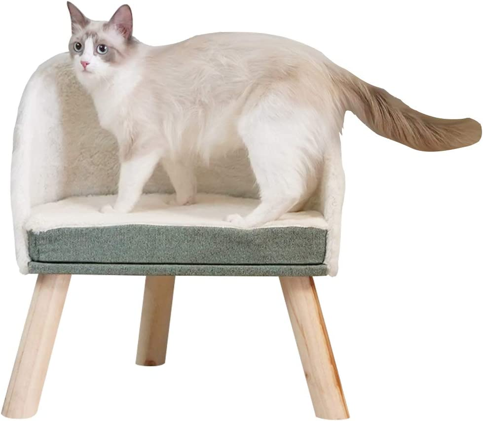 Furrytail Scandinavian Style Elevated Cat Chair, Super Soft Plush & Chenille Fabric with Solid Wood Frame Legs, Modern Raised Cat Sofa Bed Furniture