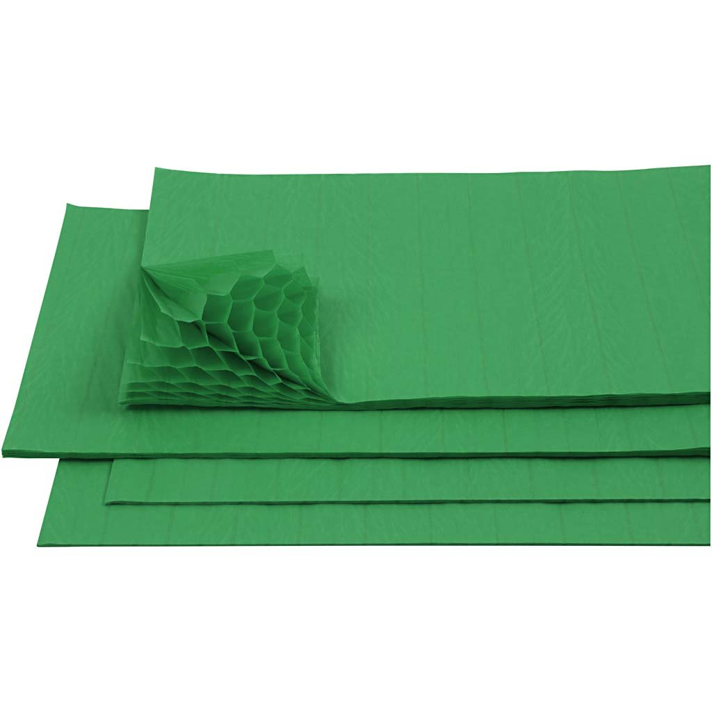 Carta a nido d'ape, foglio 28x17,8 cm, verde, 8fogli Creativ Company