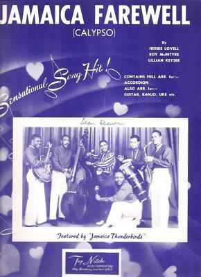 Sheet Music Jamaica Farewell Jamaica Thunderbirds 167