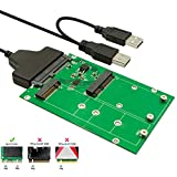 MECHREVO M.2 or MSATA to USB or SATA 3.0 Adapter, 2-in-1 Converter Reader Card with Cable, Support Mini SATA or Ngff B Key SSD HDD