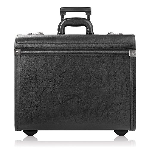 Solo Lincoln Rolling Catalog Case with Dual Combination Locks - Rolling Briefcase for Men and Women. Telescoping Handle System with Wheels - Black (Laptop Catalog Case)