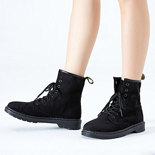 Boots Warm Ankle Shoelace Heel BLACK 36 Female Suede Shoes Casual Low Flat wdjjjnnnv Short Martin w4FqB8vt