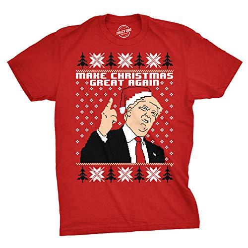 (Mens Make Christmas Great Again Trump in Santa Hat Funny Ugly Xmas T Shirt (Red) - 3XL)