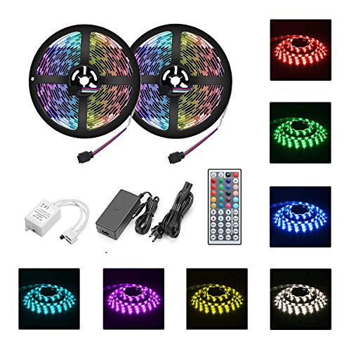 LED Strip Lights Waterproof 10M/32.8ft 5050 RGB 300led Strips Lighting Flexible Color Changing with 44 Key IR Remote Ideal for Home Kitchen Christamas TV Back Lights DC 12V 5A