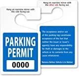 ToughTag Standard Rearview Mirror Hang Tag, Heavy Duty Plastic Permit Tag, 50 Tags / Pack, 3'' x 5''