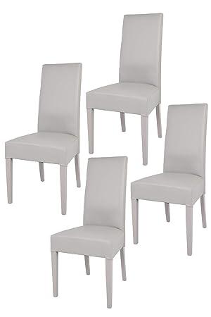 Tommychairs sillas de Design - Set de 4 sillas Luisa para Cocina, Bar y Restaurante, con Estructura en Madera de Haya y Asiento tapizado en Polipiel ...