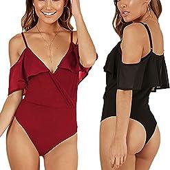 Weigou Women Sexy Bottoming Vest Deep V Sleeveless Halter Leotard Bodysuit Romper Short Jumpsuit 51fgUmNMjML