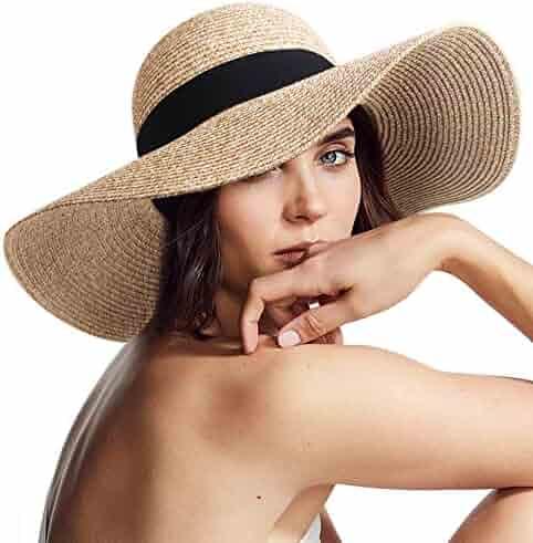 765a1209 Womens Sun Straw Hat Wide Brim UPF 50 Summer Hat Foldable Roll up Floppy  Beach Hats