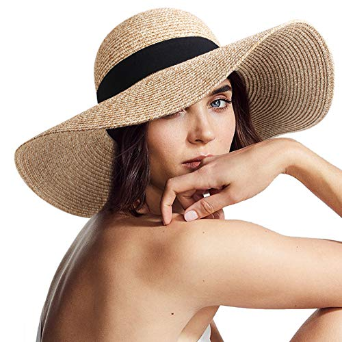 Women Sun Straw Hat Wide Brim UPF 50+ Beach Hats for Women Summer Bucket Hat Foldable Beige ()