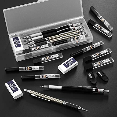 NicPro Mechanical Pencil Set VI Metal HB Pencils 0.7 /& 0.5mm Lead /&  3 Erasers