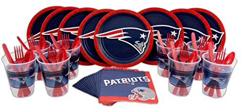 NFL New England Patriots Plate, Napkin, Cup, Fork, Spoon, Knife Party Set for 8 (Patriots Party Supplies)
