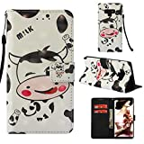 Galaxy Note9 Case, MerKuyom [Special 3D][Wrist Strap] [Kickstand] Premium PU Leather Wallet Pouch Flip Cover Case for Samsung Galaxy Note9 Note 9, W/Stylus (Cute Milk Cow)