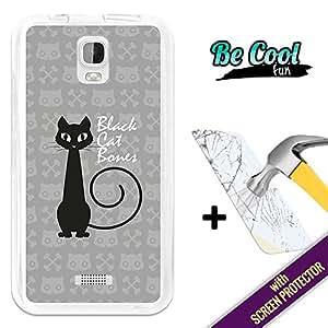 Becool® Fun- Funda Gel Flexible para Huawei Y3 - Y360 [ +1 Protector Cristal Vidrio Templado ]Carcasa TPU fabricada con la mejor Silicona, protege y se adapta a la perfección a tu Smartphone y con nuestro exclusivo diseño Elegante gato negro