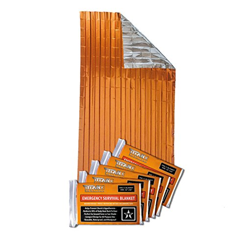Titan Two-Sided Mylar Emergency Survival Space Blankets, 5-Pack | Safety-Orange (27-000002)