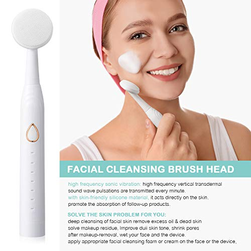 Electric toothbrush, with 6 brushing modes, good timer and IPX7 water resistant, with 5 DuPont brush heads, 1 face washing brush head, and 1 facial therapeutic massage brush head