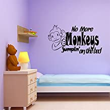 jtxqwn Vinly Art Decal Words Quotes No More Monkeys Jumpin' On The Bed For Nursery Kids Room