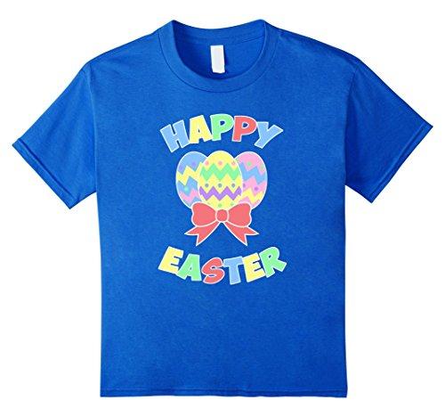 unisex-child Easter Happy Easter Eggs T Shirt 6 Royal Blue