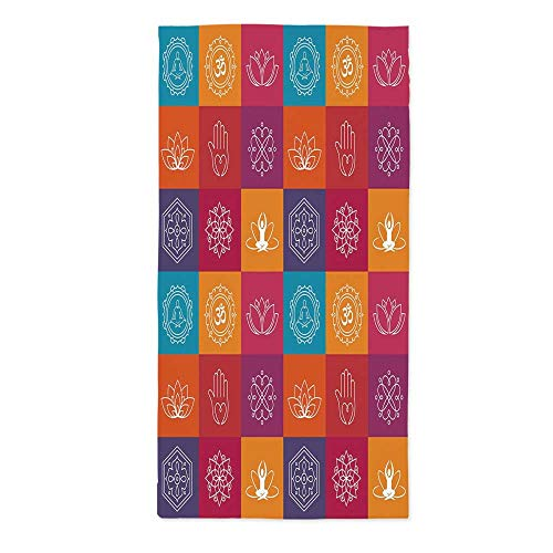 Yoga Soft Tablecloth,Colorful Collection of Yoga Icons and Relaxation Symbols Wellness Harmony Health Zen for Buffet Table Parties Holiday Dinner Wedding & More,20.1''W X 40.2''L