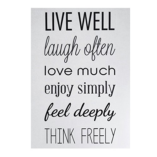 "Homeford ""Live Well, Laugh Often"" Quotes Wall Art Sticker, 1"