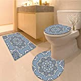 Miki Da Toilet carpet floor mat elegant square blue abstract pattern can be used to design pillows Non-slip Soft Absorbent Bath Rug