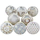 Set of 8 Royal Gold Ceramic Door Knobs Vintage Shabby Chic Cupboard Drawer Pull Handles by G Decor