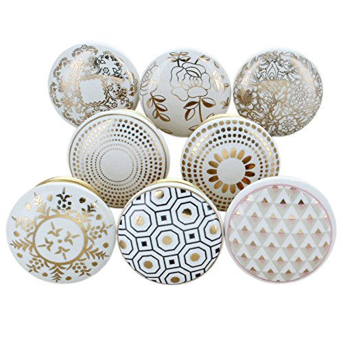 Set of 4 Vintage Cupboard Ceramic Knobs Shabby Chic Drawer Door Pulls Handles