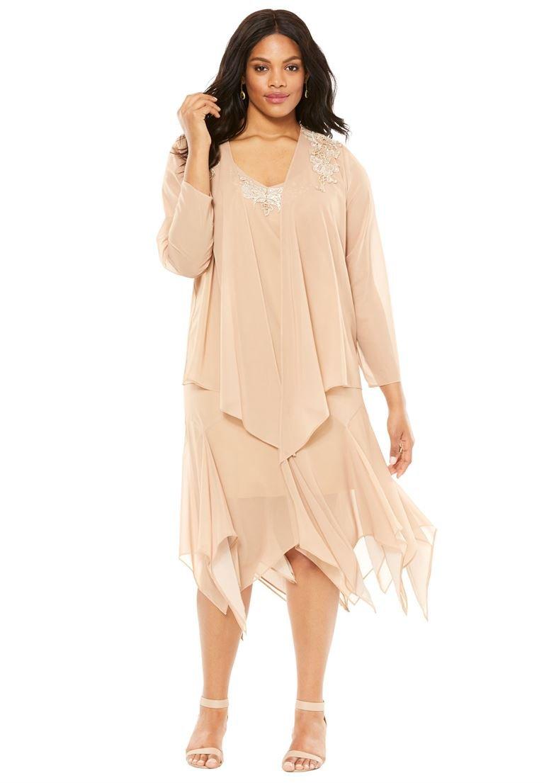 Roamans Women's Plus Size Beaded Jacket Dress Sparkling Champagne,18 W