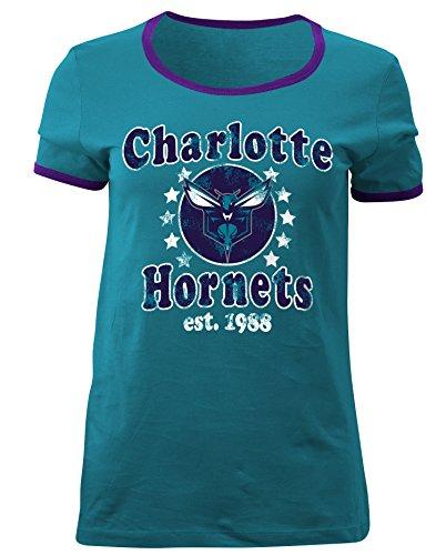 - 5th & Ocean NBA Charlotte Hornets Adult Women Ladies Baby Jersey Short Sleeve Ringer Tee,M,Aqua