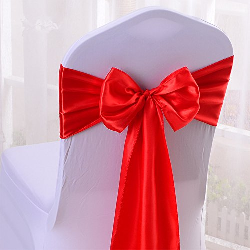 iEventStar Satin Sash Chair Bow Cover Wedding Banquet Party Decoration (10, Red) (Ties Chair Cover)