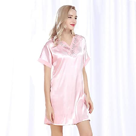 GAOJUAN Women s Pajamas Spring And Summer New Home Service Noble Lace  Simulation Silk Pajamas Short-Sleeved Nightdress V Neck Satin Solid Colored  Sleepwear ... ef083dea5