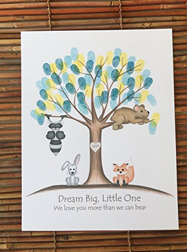 Customizable woodland animal fingerprint tree guest sign in for a boy's woodland animal themed baby shower, featuring a grey raccoon, grey bunny, brown bear, and (Country Themed Baby Shower)