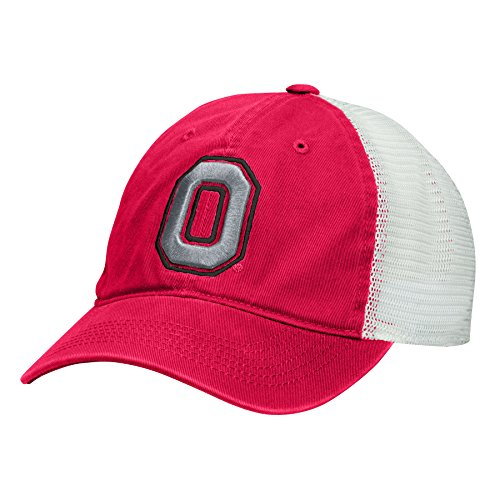 J America NCAA Ohio State Buckeyes Adult Men Superfly Slouch Mesh Flex Cap, Large/X-Large, Red/White