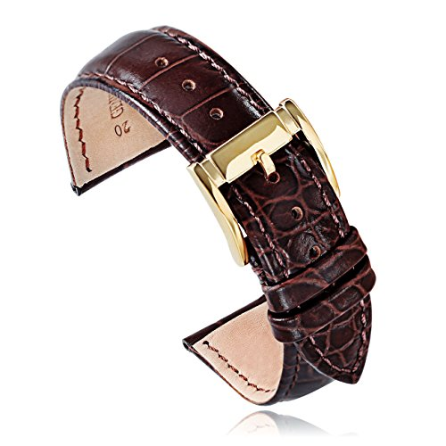 Brown Calfskin Leather Watch Band Replacement Watch Strap 20mm Gold Watch Buckle for Men Watches (20brgd) - Replacements Strap Bvlgari Watch