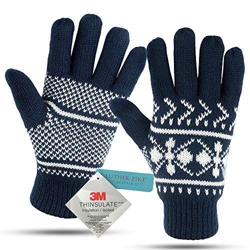 Price comparison product image Winter Gloves For Women: Womens Cold Weather Warm Snow Glove: Women's Knit Thinsulate Thermal Insulation Navy Blue