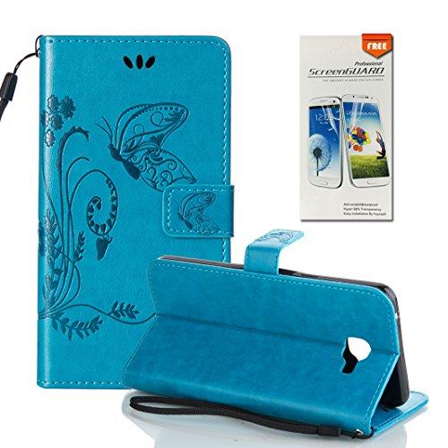 Funda Samsung Galaxy A9 OuDu Carcasa de Billetera Casco Patrón de Gofrado Caja Elegante Flor&Mariposa Funda PU Cuero Carcasa Suave Protectora con Correas de Teléfono Funda Arbol Flip Wallet Case Cover Azul