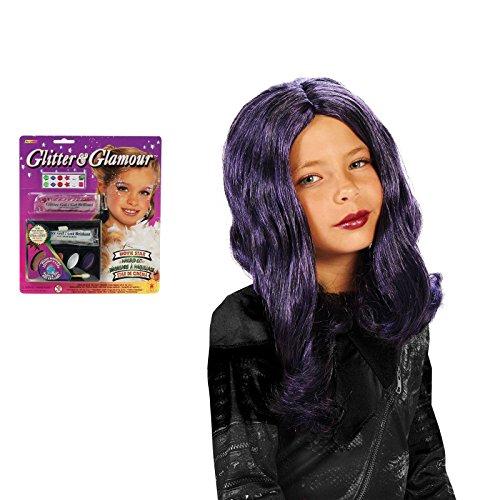 Purple Child Wig and Glitter Makeup Bundle Set