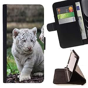 - White Tiger Cub Puppy Cute/ Personalizada del estilo del dise???¡¯???¡Ào de la PU Caso de encargo del cuero del tir???¡¯????n del s - Cao - For Sony Xpe