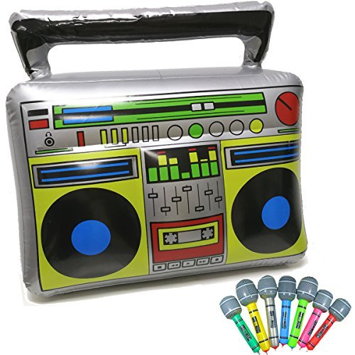 GuassLee Inflatable Boom Box - 18' PVC Radio + 2 Microphones for 80s Party Decorations Inflatable Props