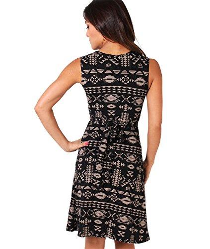 KRISP Damen Kleid mit Geknotetem Dekolleté Mokka (6607) B7GYSer91h