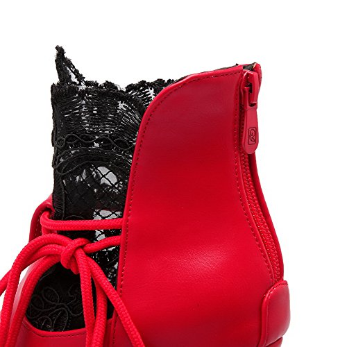Sólido Material Baja Cerrada Alto Suave Caña Botas Tacón Rojo AllhqFashion Mujeres Puntera fU0XXx