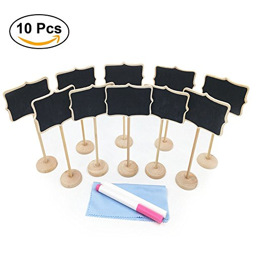 Mini Chalkboard, Mini Chalkboards with Stand, 2 Chalk Markers and Cleaning Cloth for Wedding Party Table Numbers, Place Cards, Food Name Card, Decorative Sign (Pack of 10) by E-Conoro